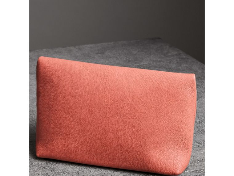 The Medium Pin Clutch in Leather in Bright Coral Pink - Women | Burberry United Kingdom - cell image 4
