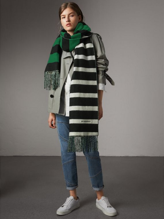 Colour-block Striped Wool Cashmere Scarf in Emerald Green/black | Burberry - cell image 2