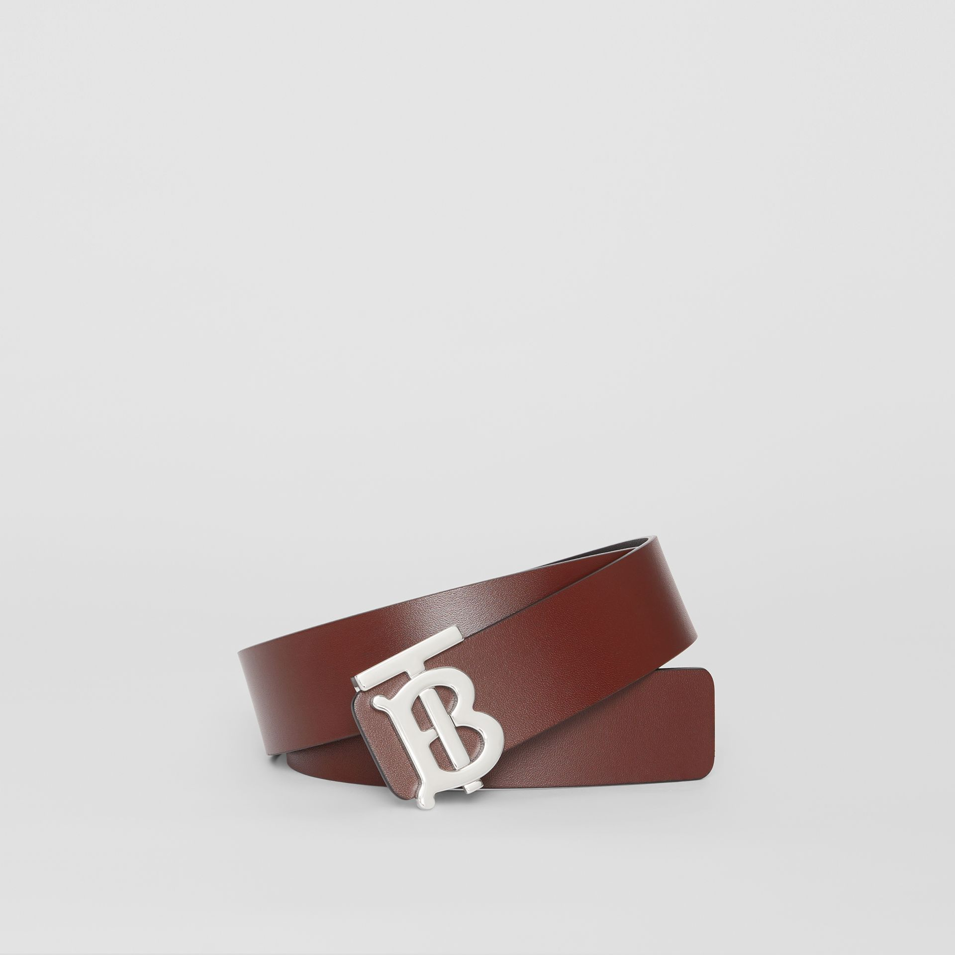 Reversible Monogram Motif Leather Belt in Oxblood - Men | Burberry - gallery image 0