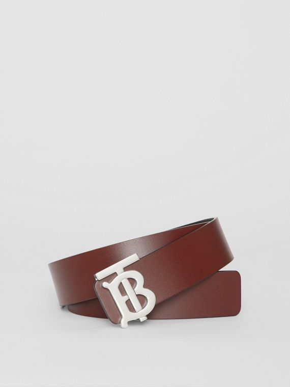 Reversible Monogram Motif Leather Belt in Oxblood