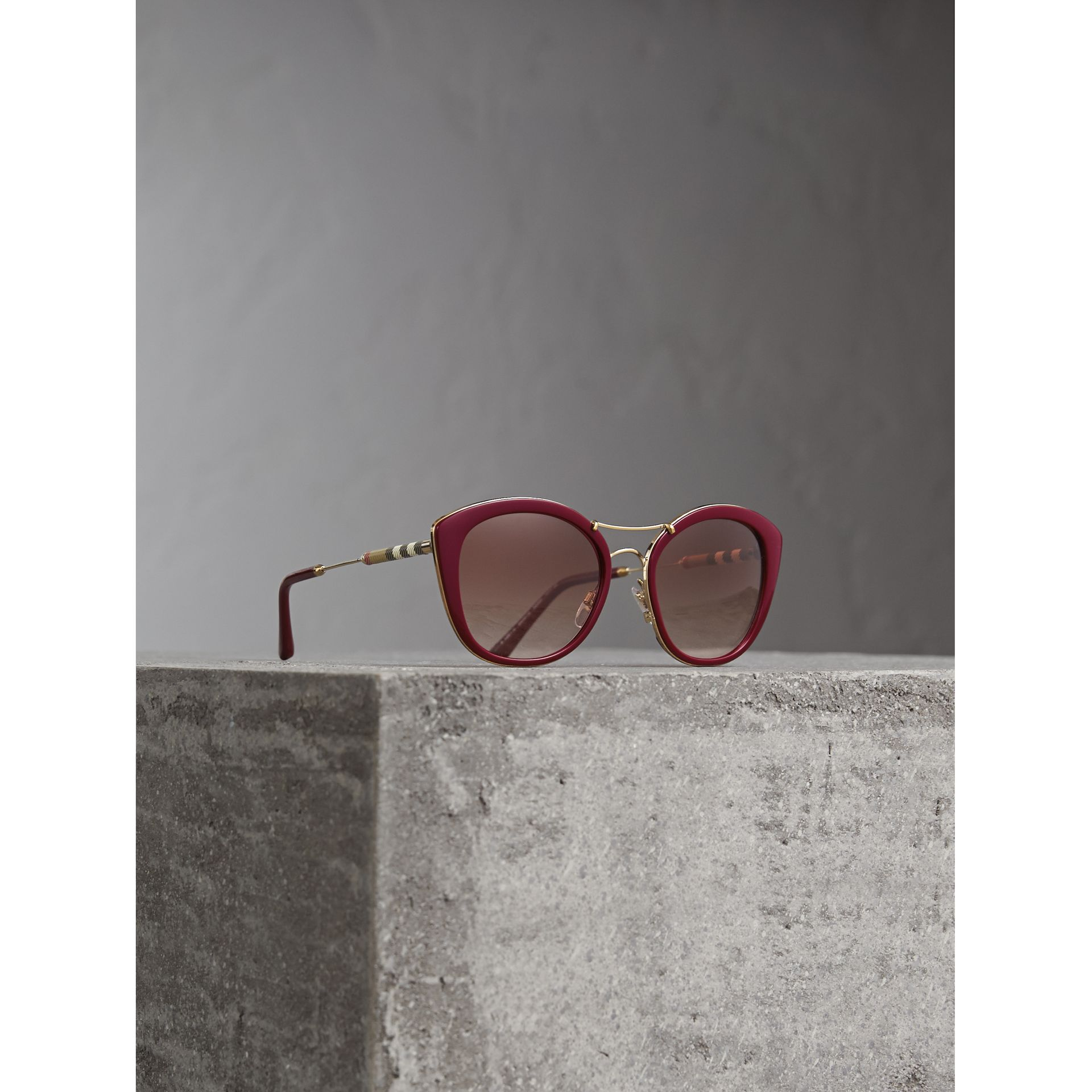 Check Detail Round Frame Sunglasses in Burgundy - Women | Burberry - gallery image 1