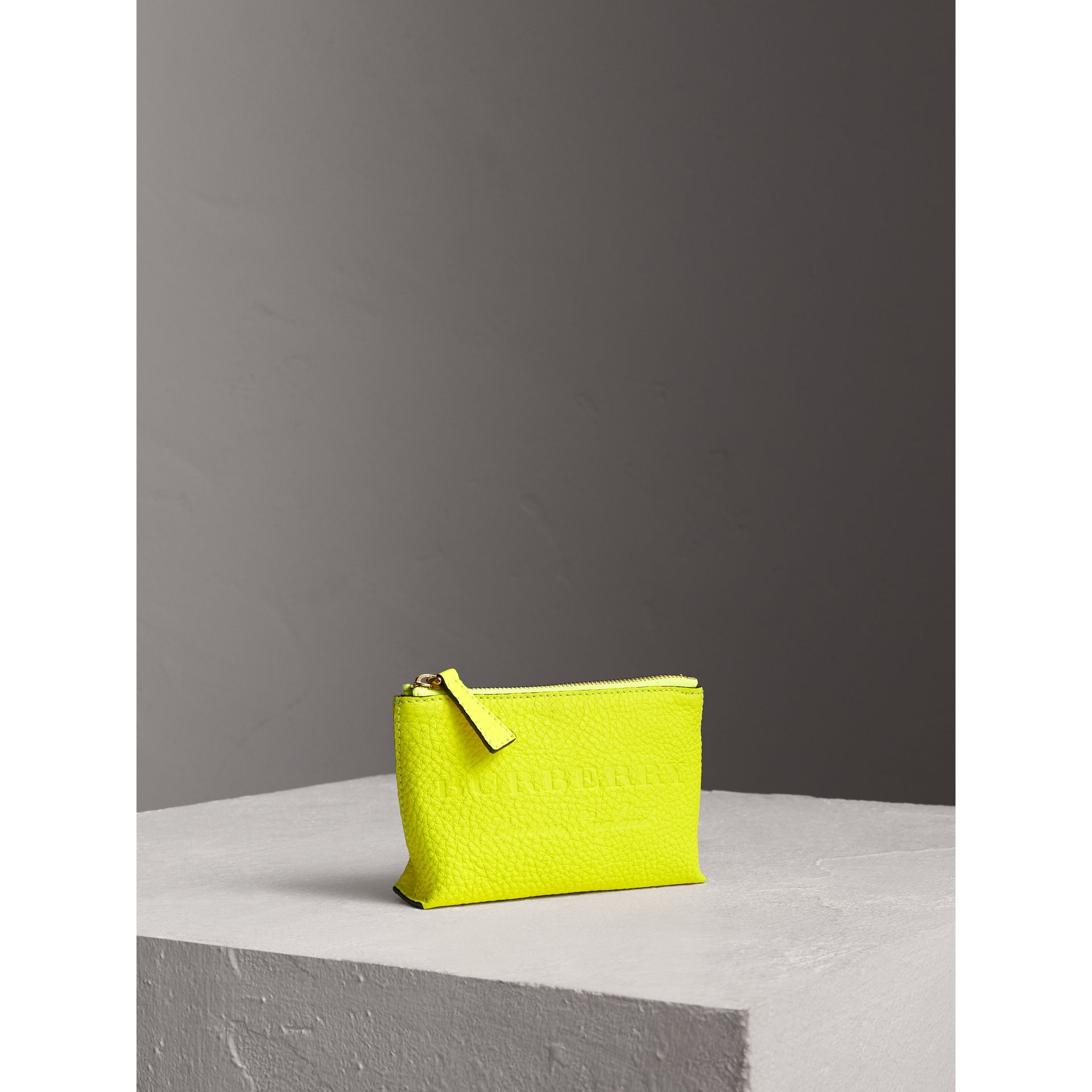 Small Embossed Leather Zip Pouch in Bright Yellow | Burberry Canada - gallery image 4