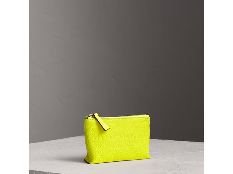 Small Embossed Leather Zip Pouch in Bright Yellow | Burberry Canada - cell image 4