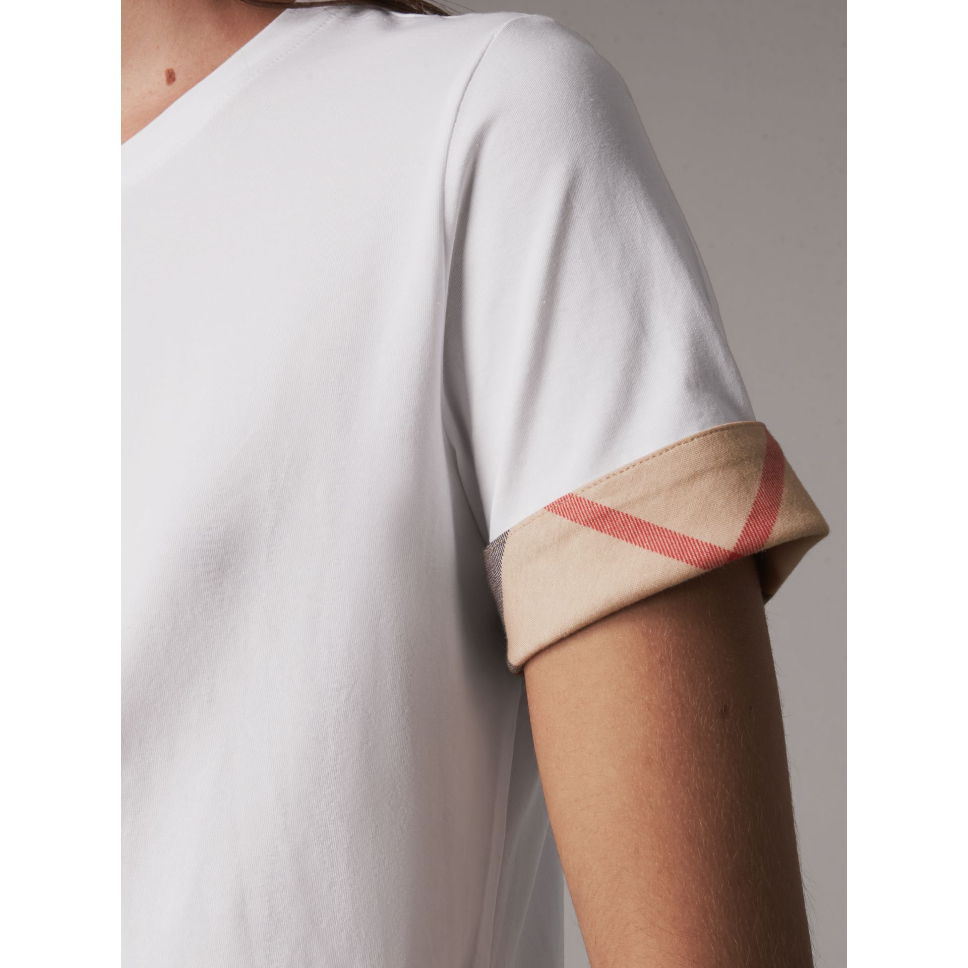 Check Cuff Stretch Cotton T-Shirt in White - Women | Burberry Canada - gallery image 1