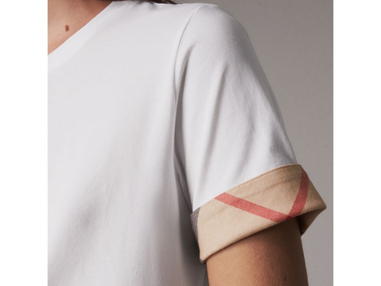 Check Cuff Stretch Cotton T-Shirt in White - Women | Burberry - cell image 1