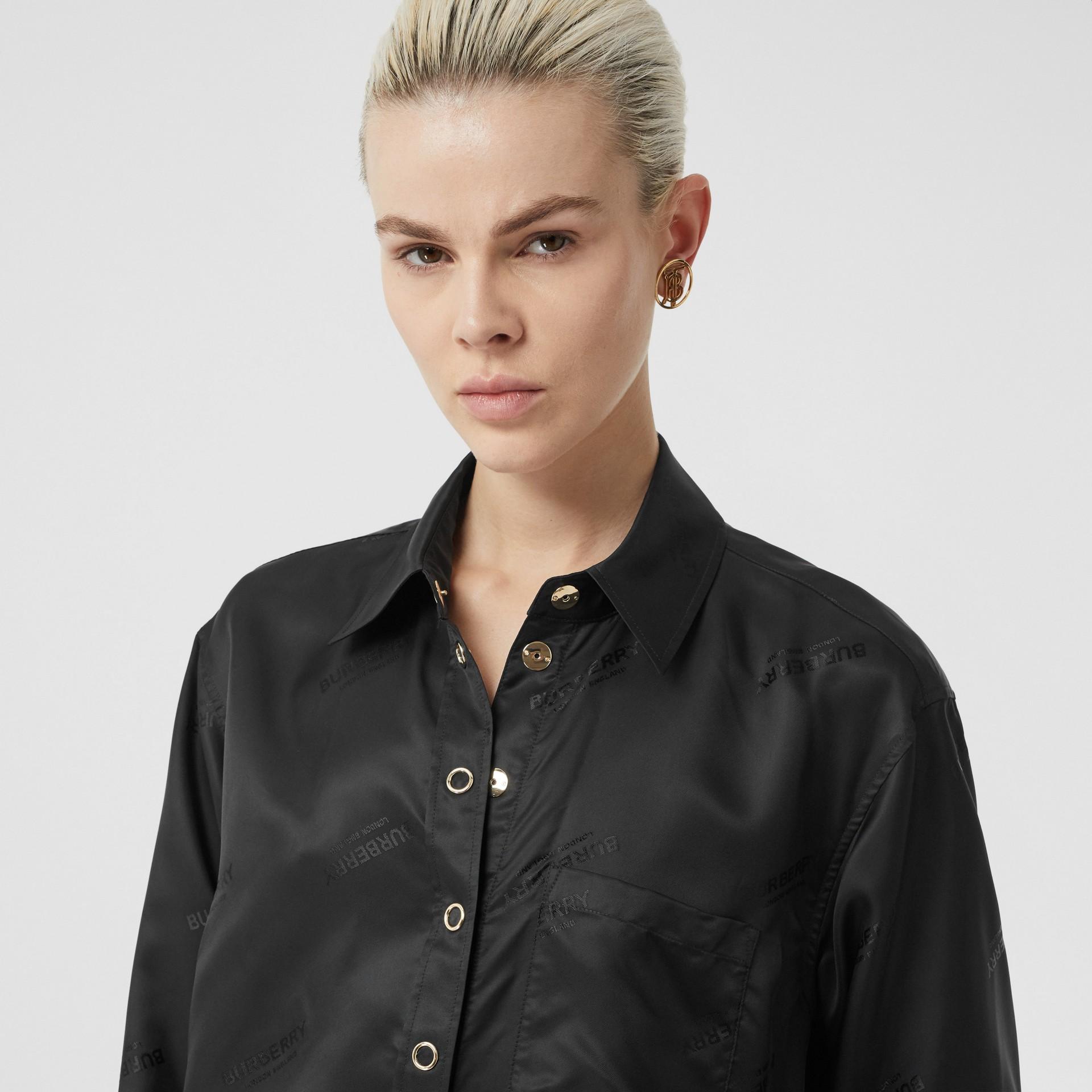 Logo Jacquard Shirt in Black - Women | Burberry - gallery image 1