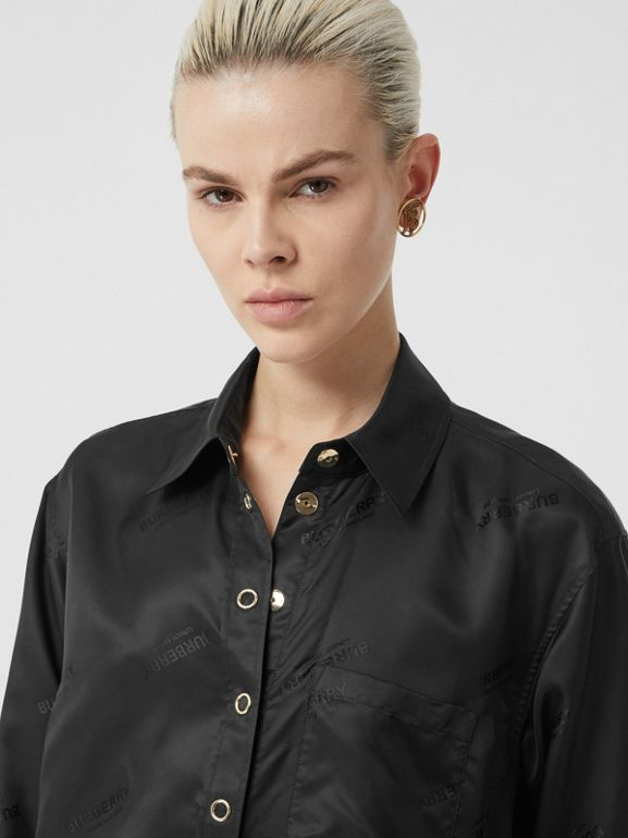 Logo Jacquard Shirt in Black - Women | Burberry Hong Kong S.A.R - cell image 1