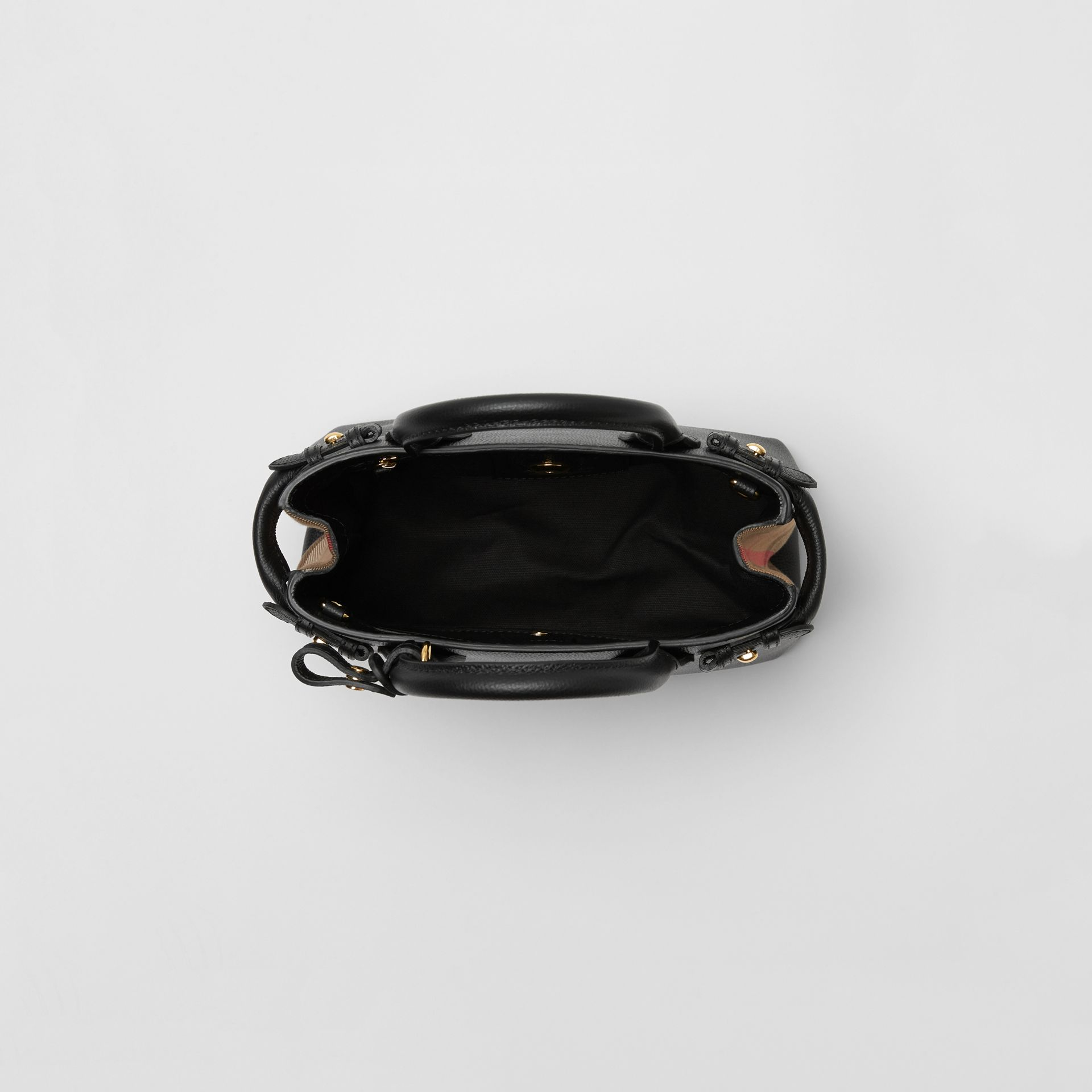 The Small Banner in Leather and House Check in Black - Women | Burberry United States - gallery image 5