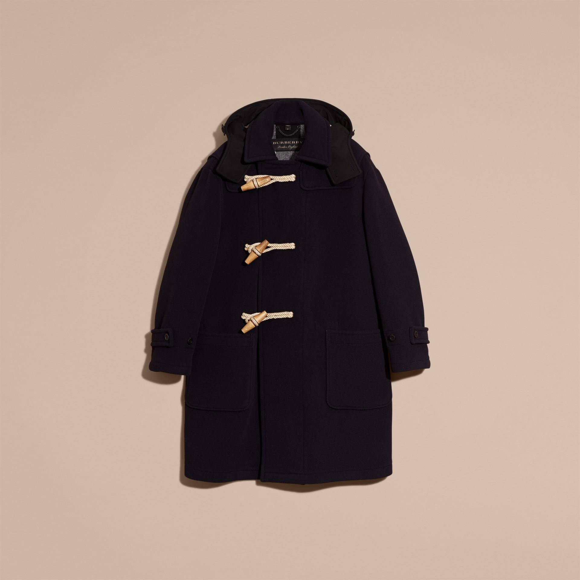Navy Montgomery in misto di lana doppio con cappuccio - immagine della galleria 4