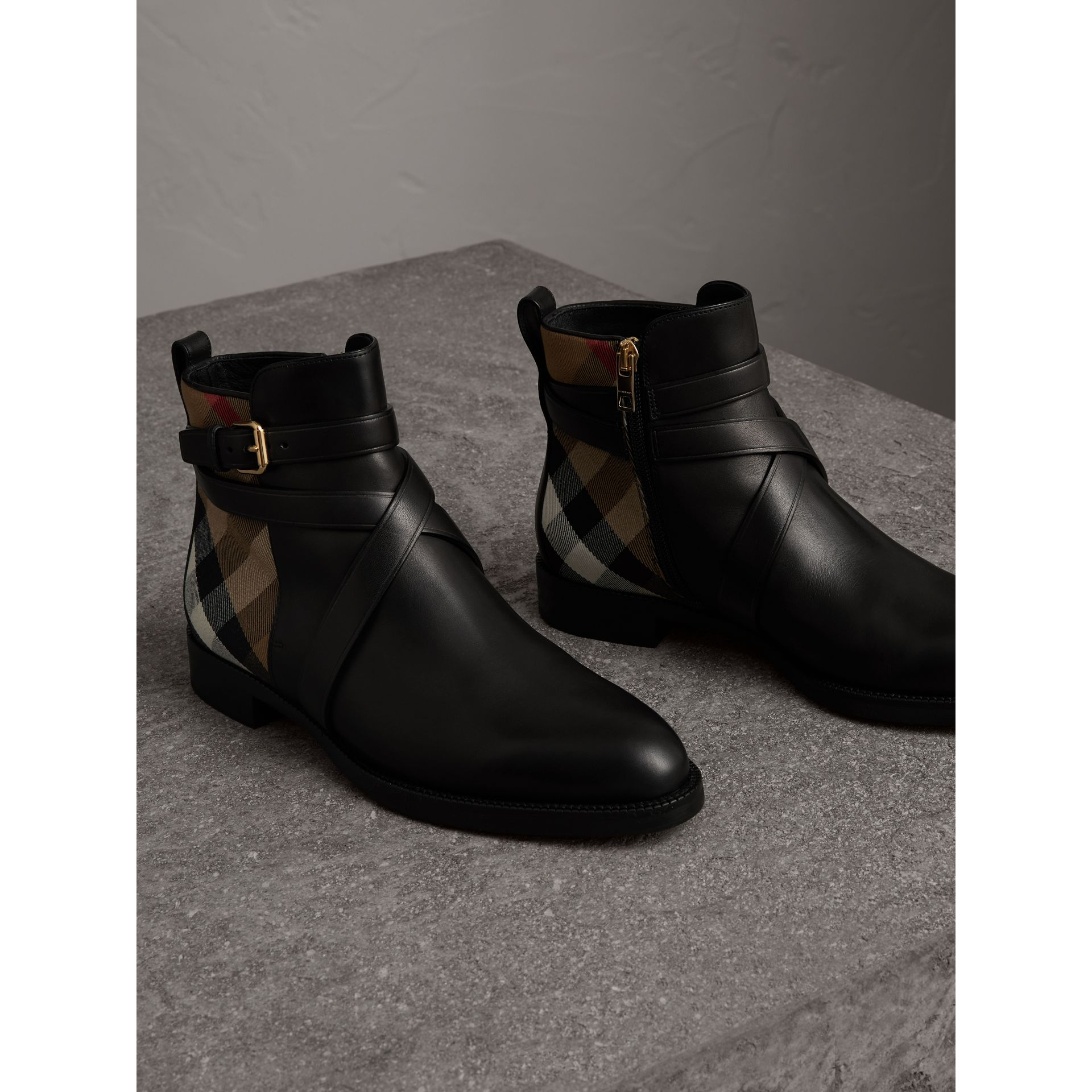 Strap Detail House Check and Leather Ankle Boots in Black - Women | Burberry United States - gallery image 4