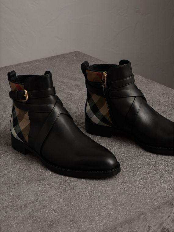 Strap Detail House Check and Leather Ankle Boots in Black - Women | Burberry Hong Kong - cell image 3