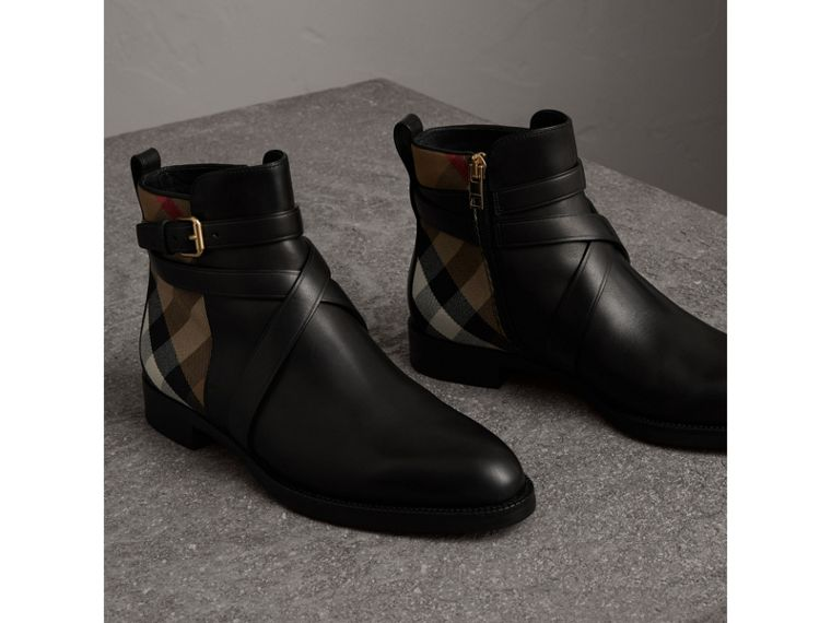 Strap Detail House Check and Leather Ankle Boots in Black - Women | Burberry United States - cell image 4