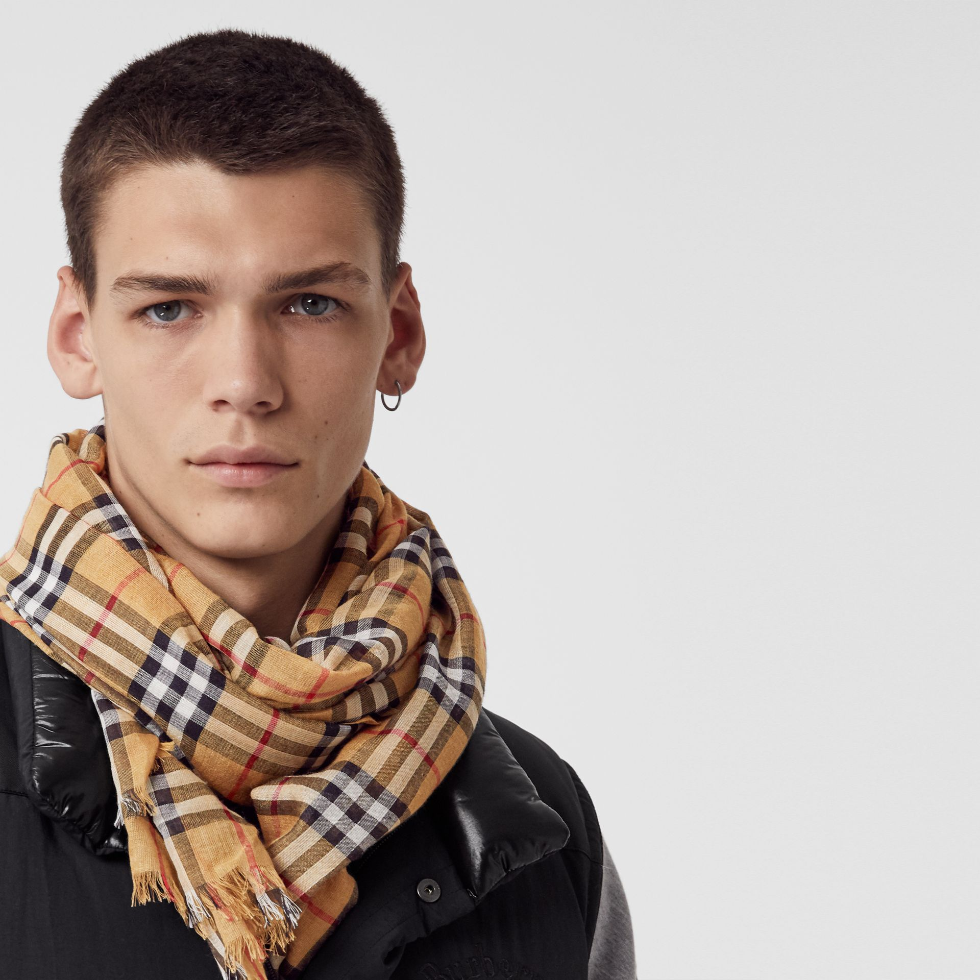 Vintage Check Lightweight Wool Silk Scarf in Antique Yellow | Burberry Singapore - gallery image 5
