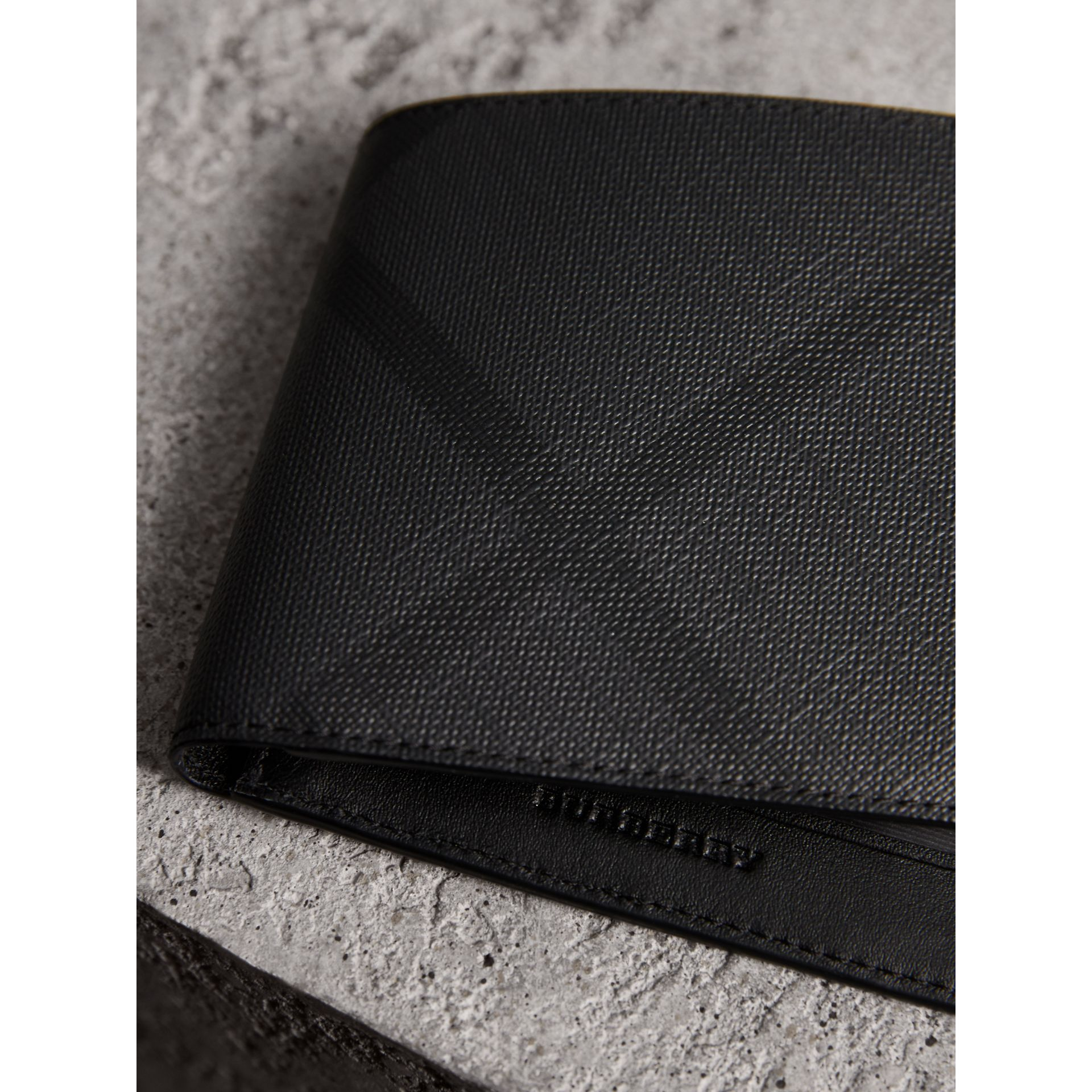 London Check ID Wallet in Charcoal/black - Men | Burberry Canada - gallery image 1