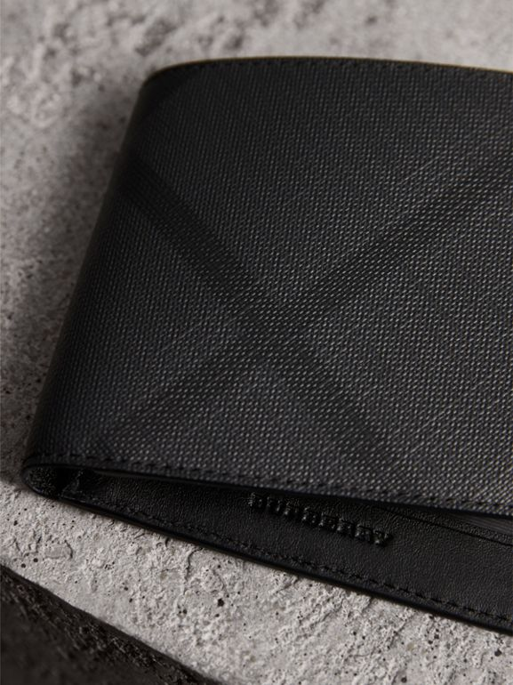 London Check ID Wallet in Charcoal/black - Men | Burberry Canada - cell image 1