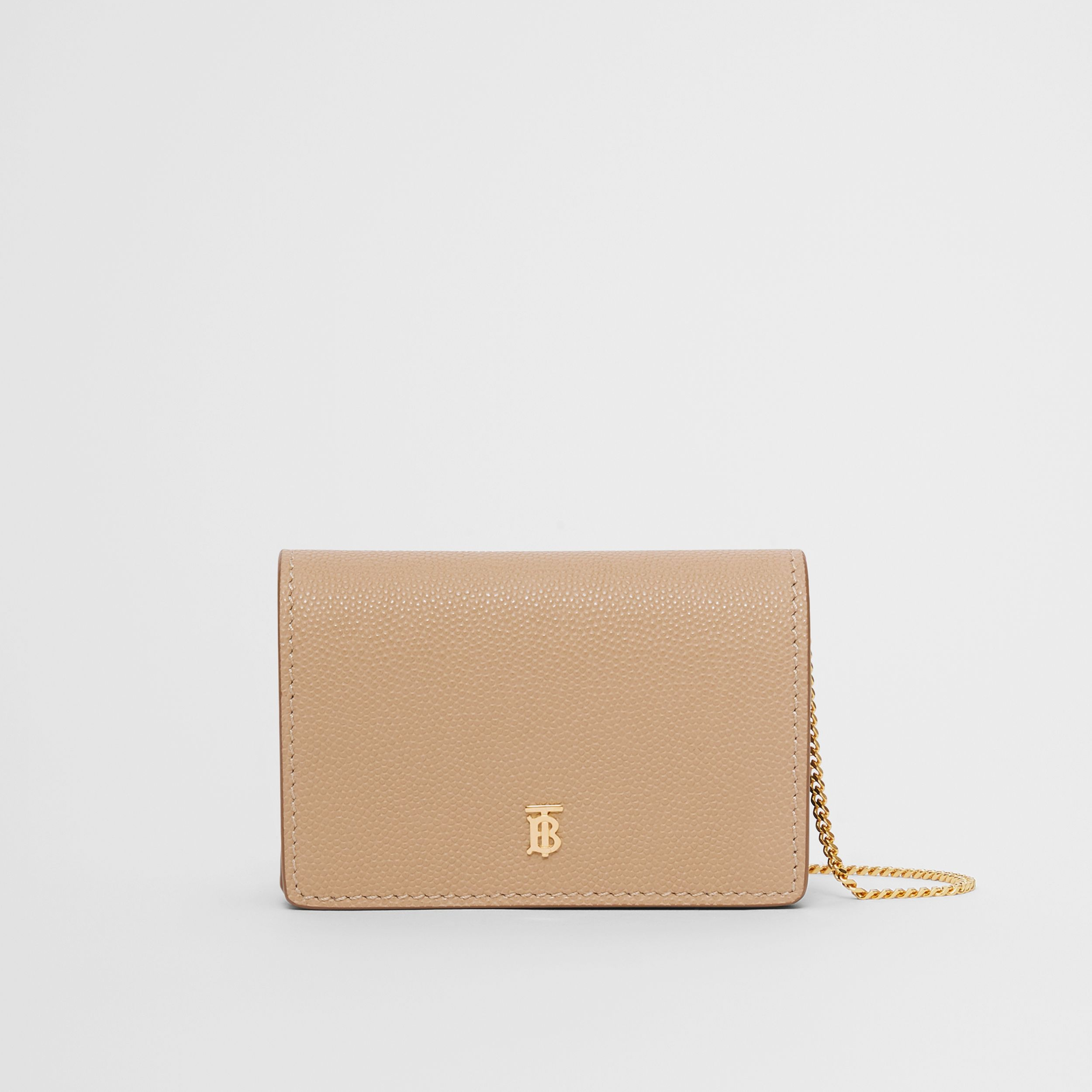 Porte-cartes en cuir grainé avec sangle amovible (Beige D'archive) - Femme | Burberry - 1