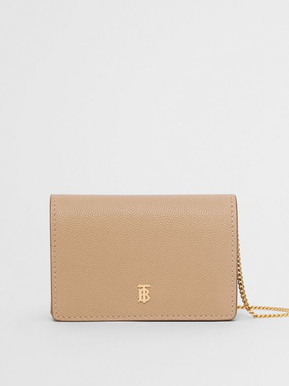 Grainy Leather Card Case with Detachable Strap in Archive Beige