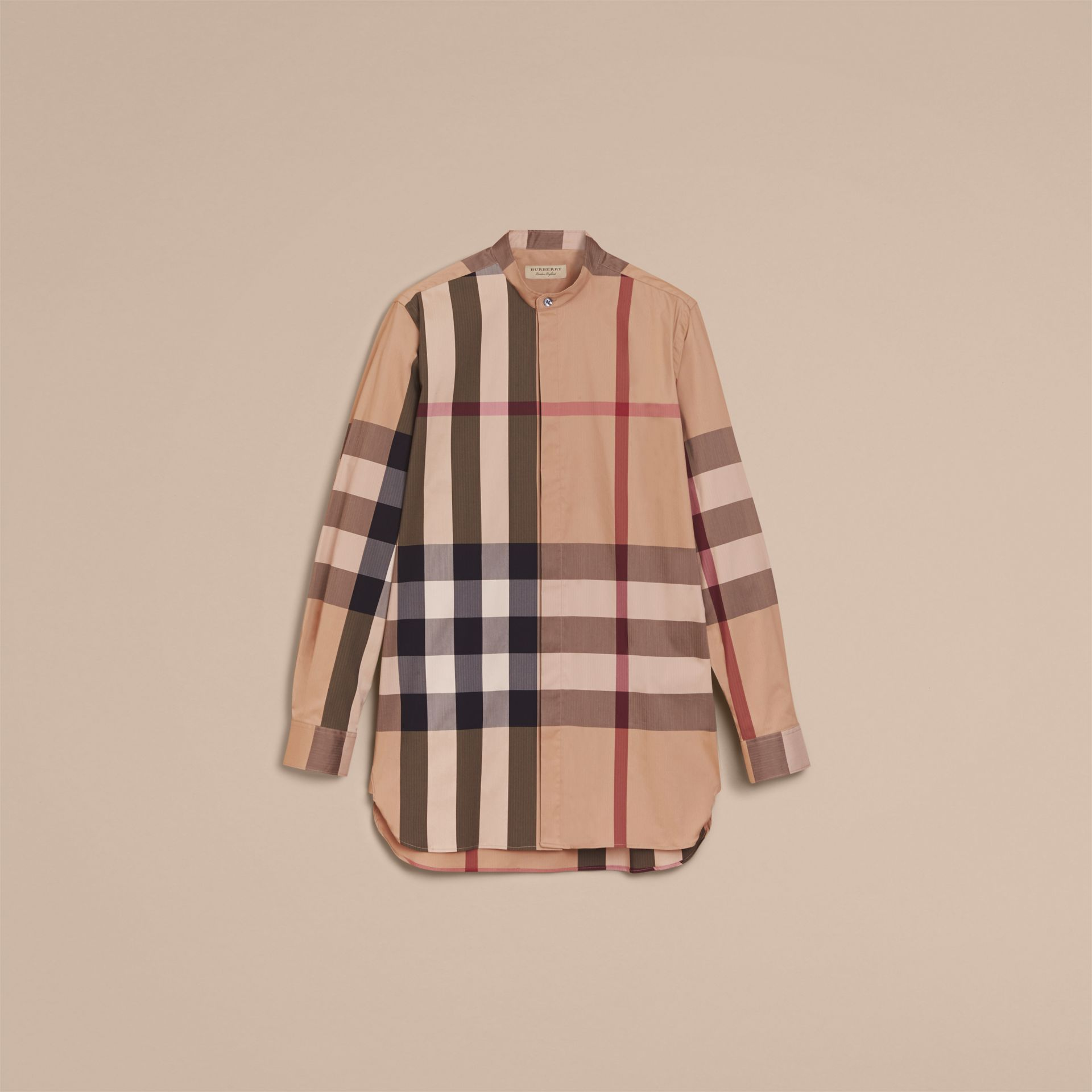 Grandad Collar Check Cotton Blend Shirt in Camel - Men | Burberry - gallery image 4