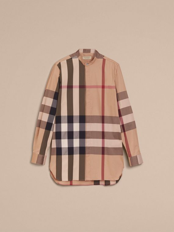 Grandad Collar Check Cotton Blend Shirt in Camel - Men | Burberry - cell image 3