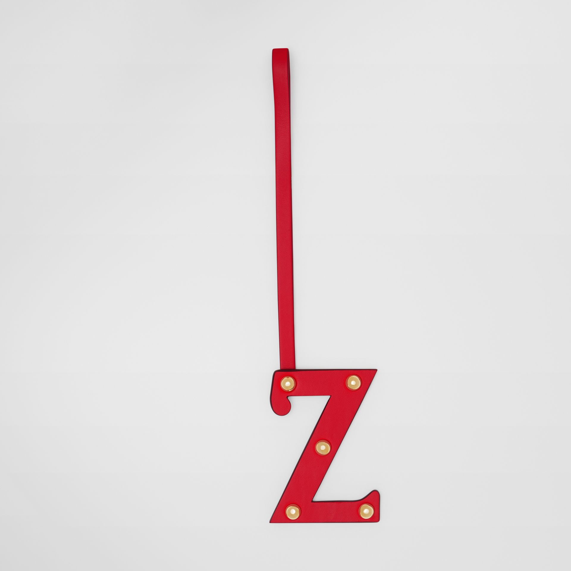 'Z' Studded Leather Alphabet Charm in Red/light Gold - Women | Burberry - gallery image 0