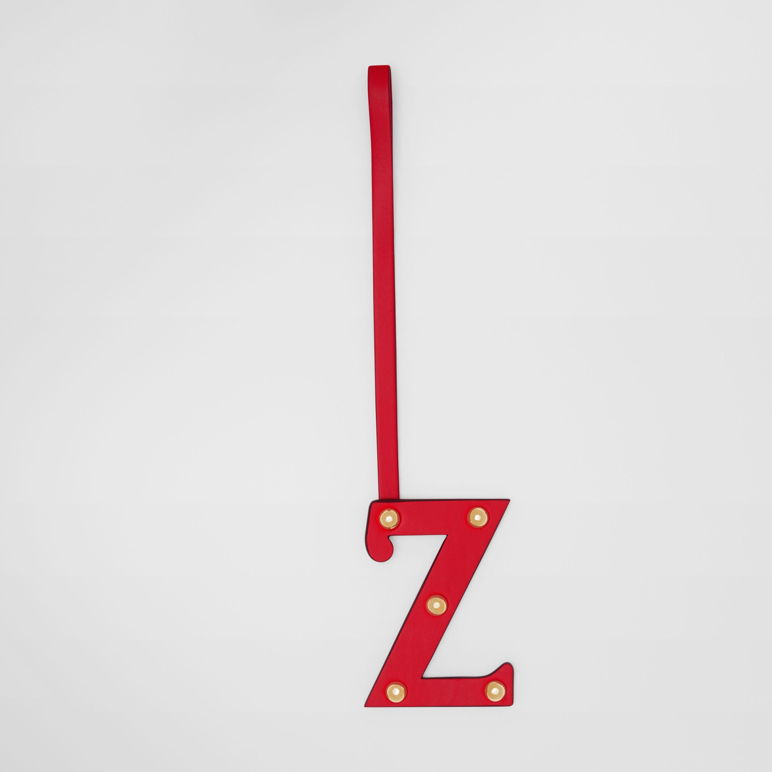 'Z' Studded Leather Alphabet Charm in Red/light Gold | Burberry - 1