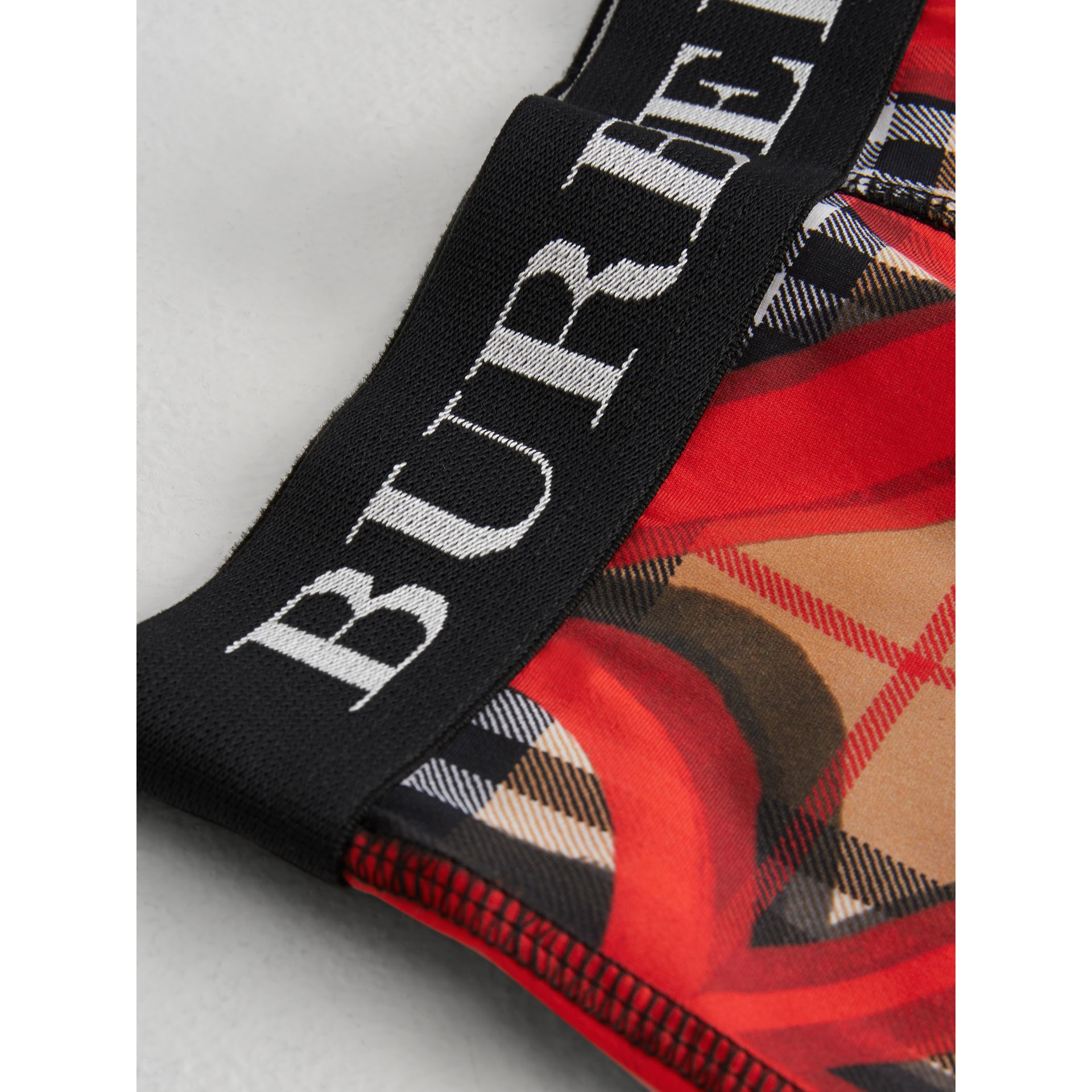 Graffiti Print Vintage Check Stretch Jersey Shorts in Bright Red | Burberry - gallery image 4