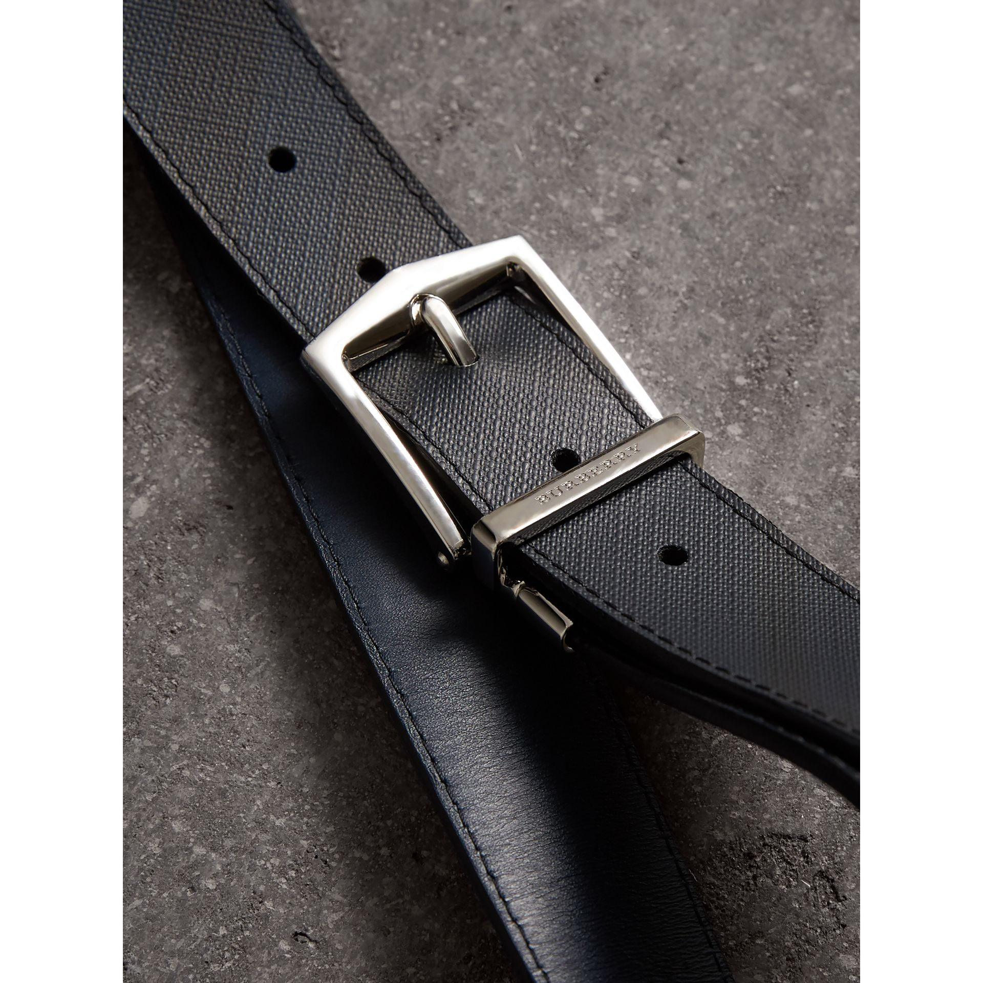 Reversible London Check and Leather Belt in Navy/black - Men | Burberry Canada - gallery image 2
