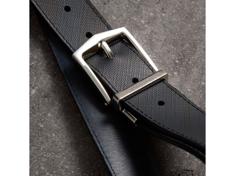 Reversible London Check and Leather Belt in Navy/black - Men | Burberry - cell image 1
