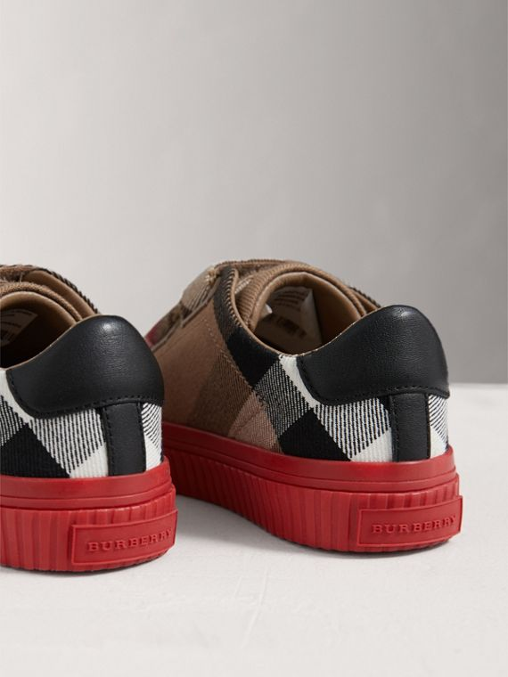 House Check and Leather Sneakers in Classic/parade Red | Burberry - cell image 2