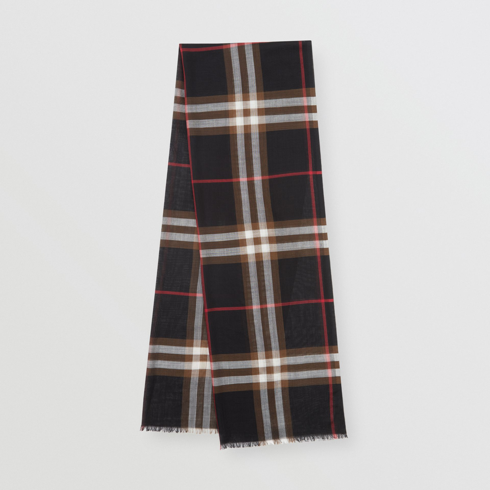 Lightweight Check Wool Silk Scarf in Black / Brown | Burberry United Kingdom - gallery image 0