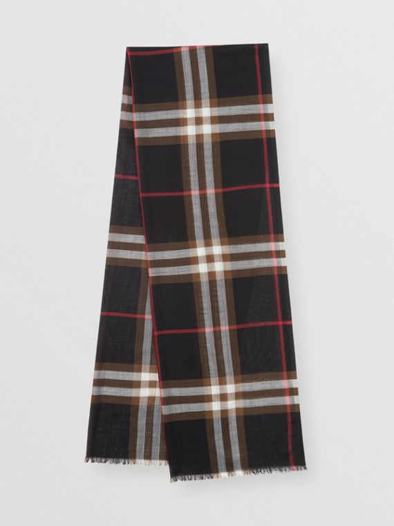 Lightweight Check Wool Silk Scarf in Black/brown