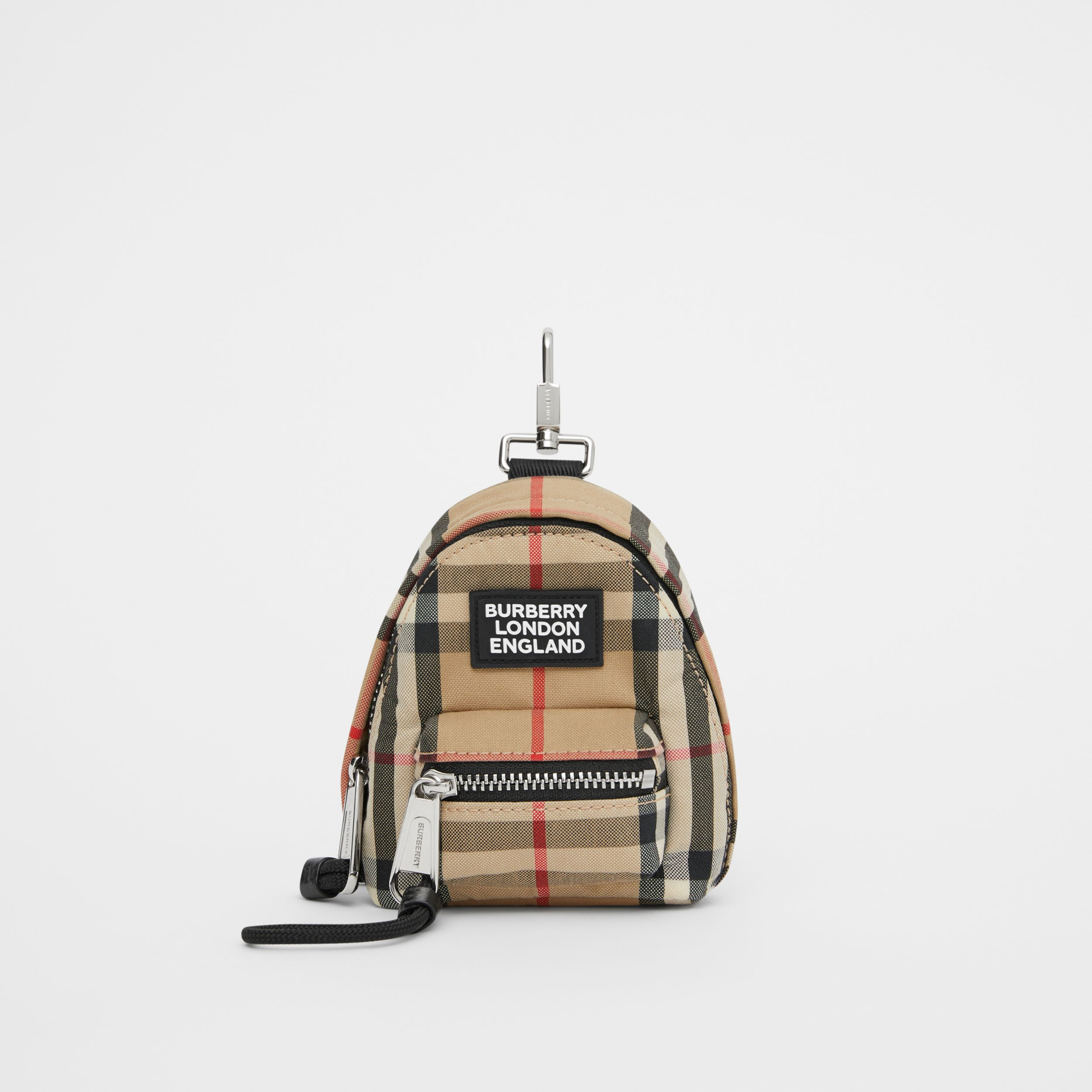 Vintage Check Backpack Charm in Archive Beige - Men | Burberry - 1