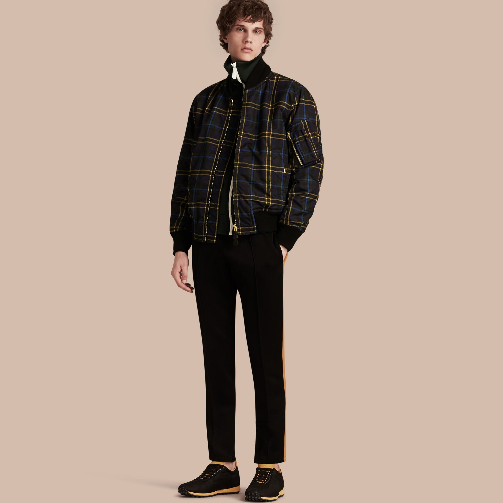 Navy Check Oversize Bomber Jacket - gallery image 1