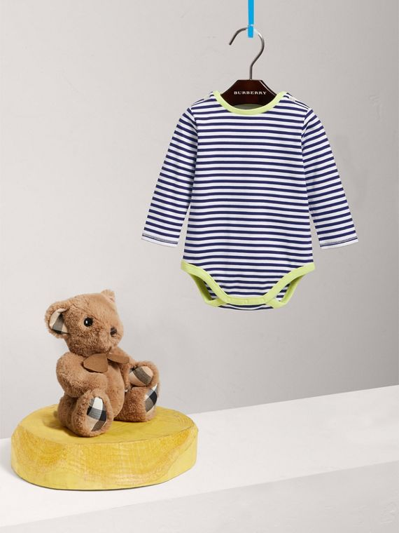 Striped Cotton Bodysuit in Bright Navy | Burberry - cell image 2