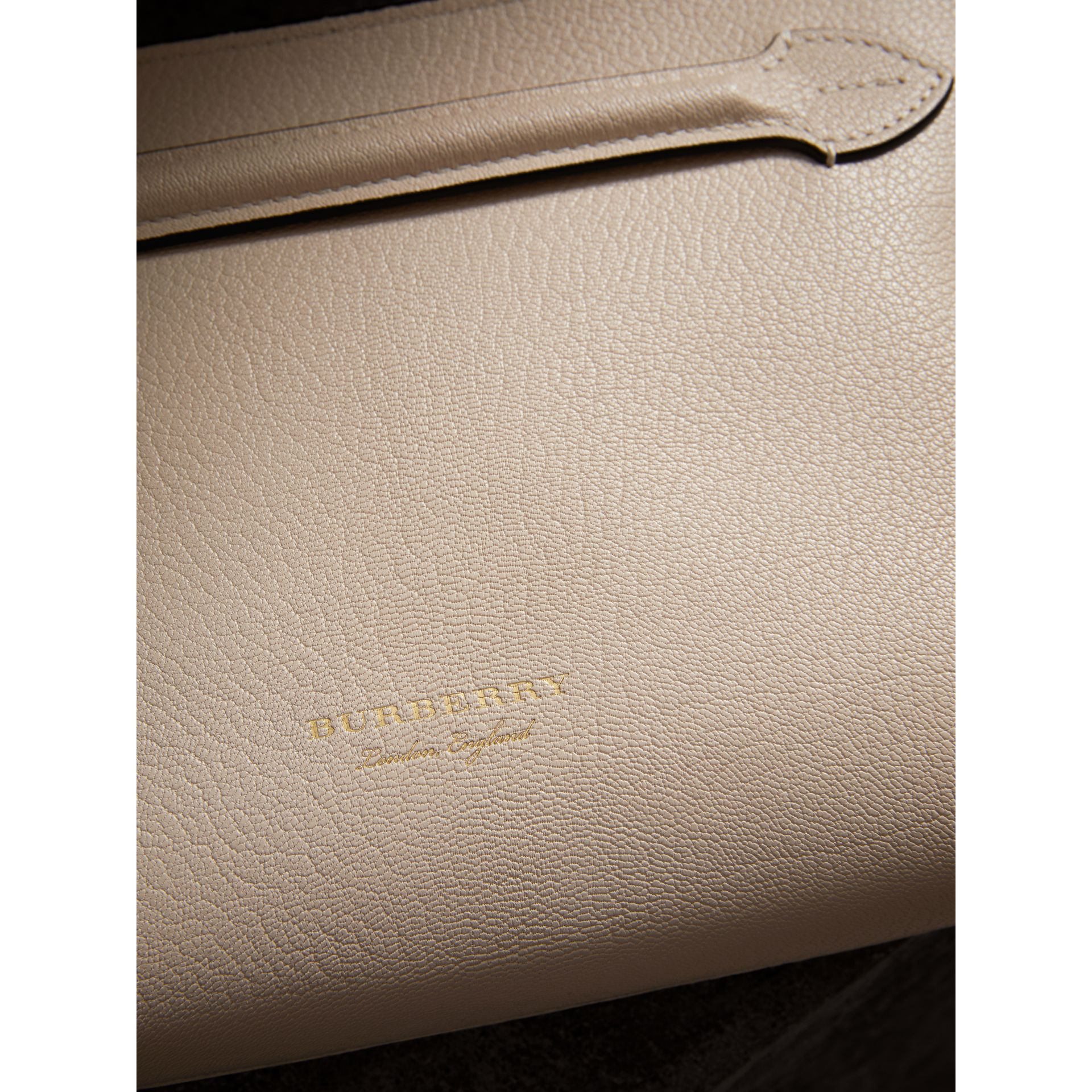 Grainy Leather Wristlet Clutch in Stone - Women | Burberry United Kingdom - gallery image 1