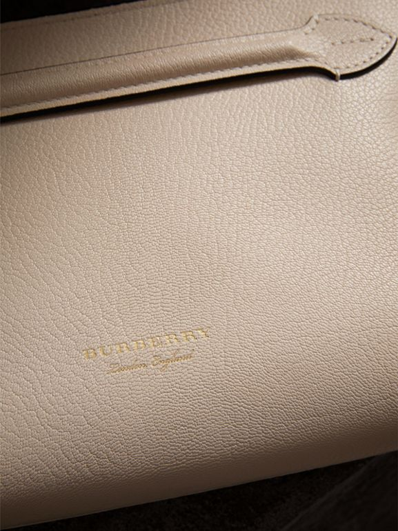 Grainy Leather Wristlet Clutch in Stone - Women | Burberry United Kingdom - cell image 1