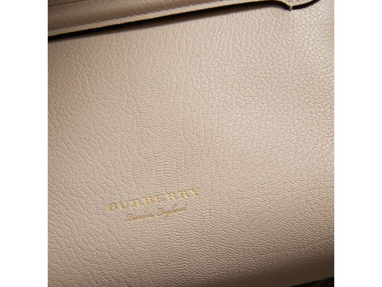 Grainy Leather Wristlet Clutch in Stone - Women | Burberry - cell image 1