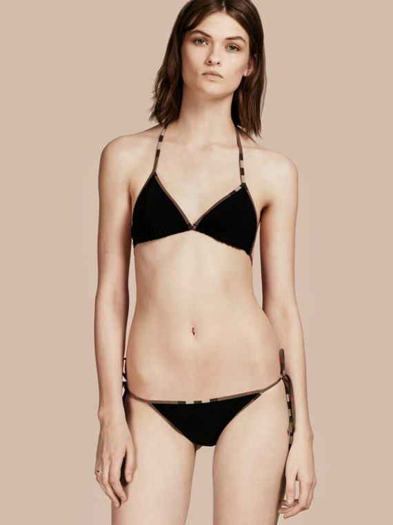 Bikini a triangolo con finiture con motivo check Nero