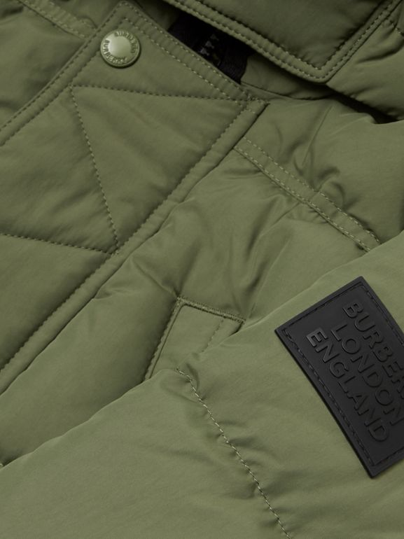 Detachable Hood Down-filled Puffer Coat in Poplar Green | Burberry - cell image 1