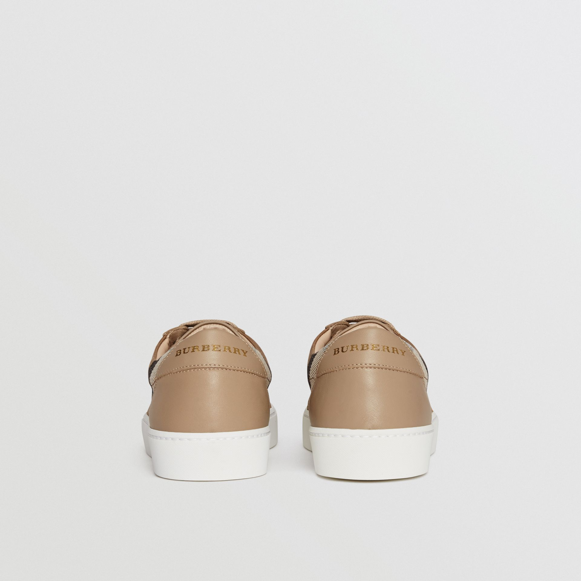 Check Detail Leather Sneakers in House Check/ Nude - Women | Burberry - gallery image 4