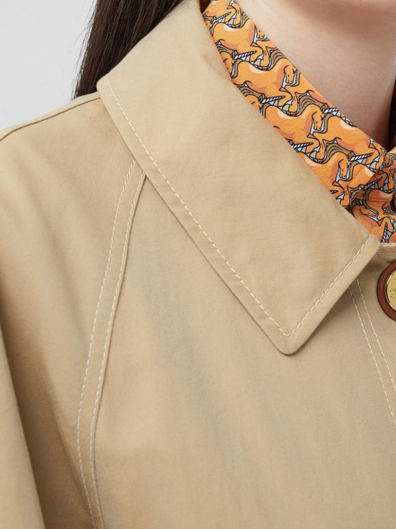 Tropical Gabardine Belted Car Coat in Honey | Burberry - cell image 1
