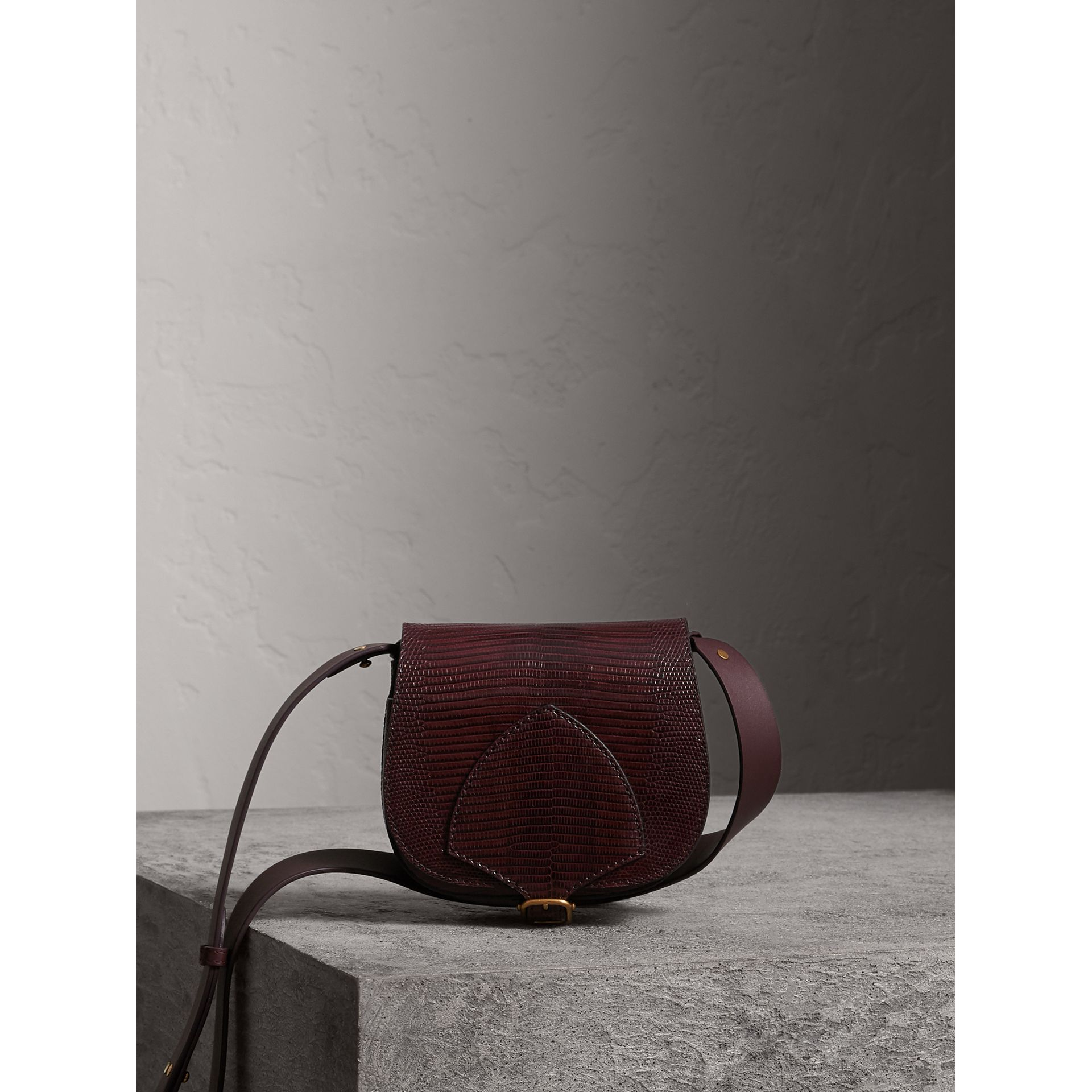 The Satchel in Lizard in Dark Mahogany - Women | Burberry United Kingdom - gallery image 0