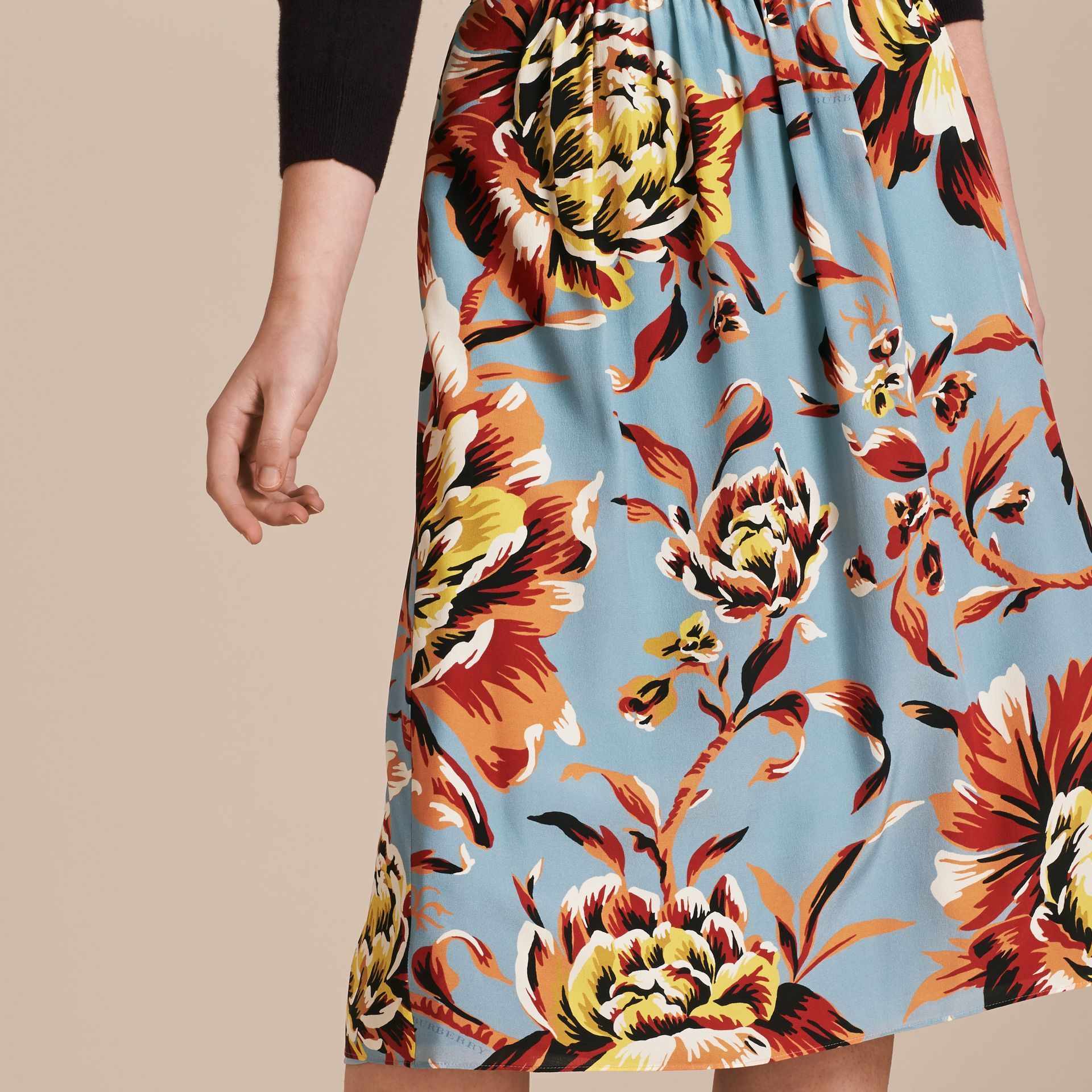 Vibrant orange Peony Rose Print Silk Skirt - gallery image 5