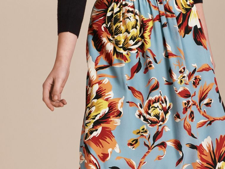 Vibrant orange Peony Rose Print Silk Skirt - cell image 4