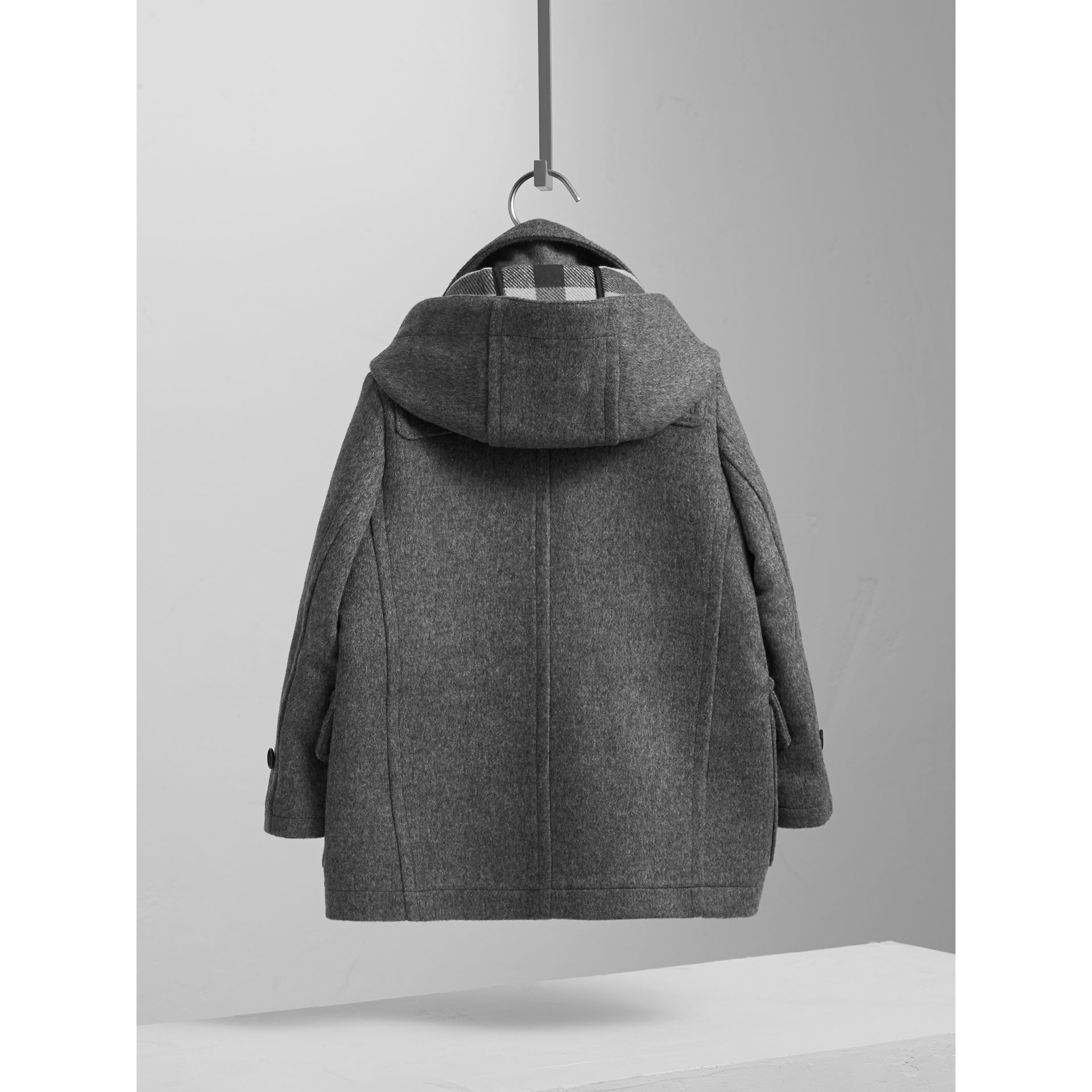 Hooded Wool Duffle Coat in Mid Grey Melange - Boy | Burberry - gallery image 4