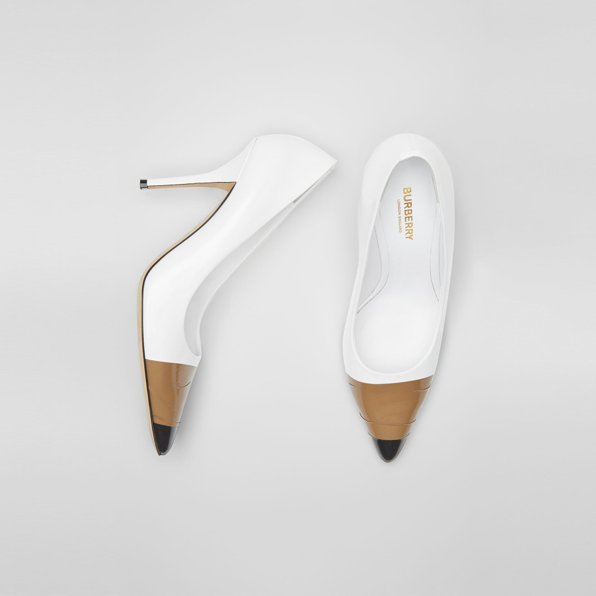 Tape Detail Leather Pumps in Optic White/ Black - Women | Burberry - gallery image 0