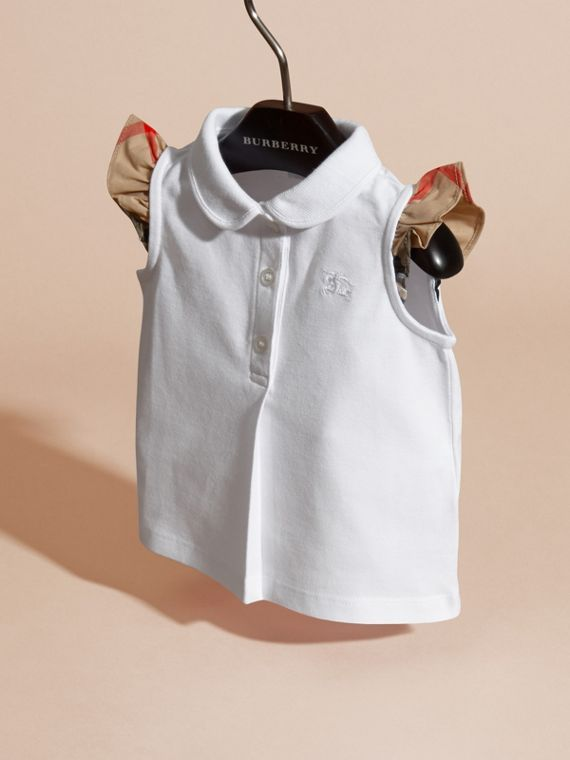 Flutter-sleeve Cotton Piqué Polo Shirt White - cell image 2