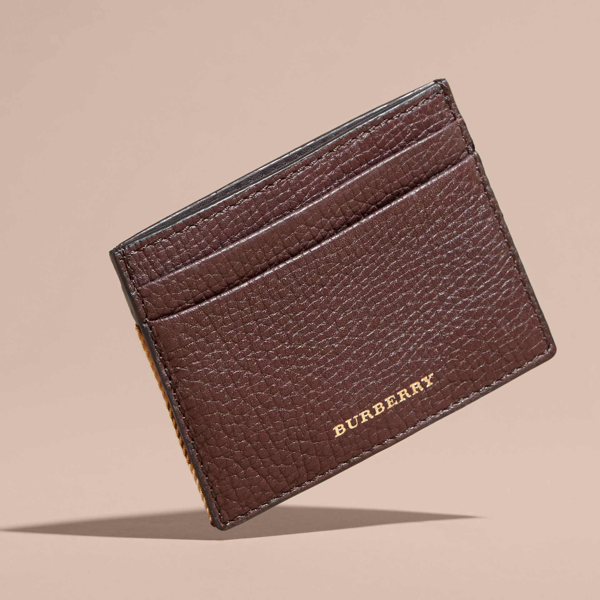 House Check and Grainy Leather Card Case in Wine | Burberry - gallery image 6
