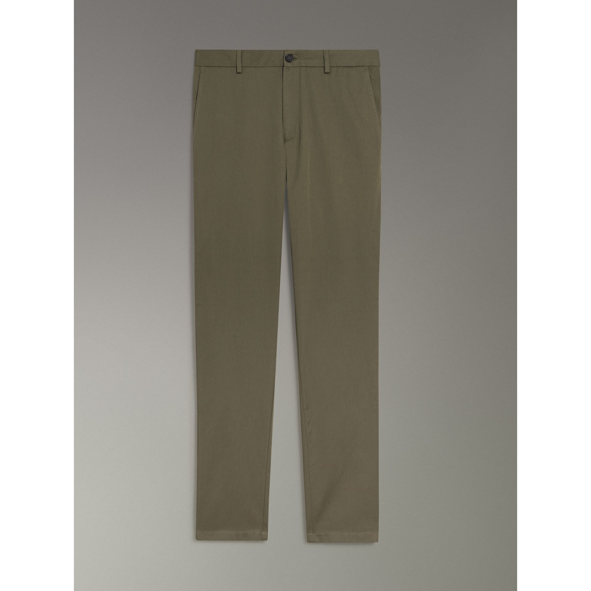 Slim Fit Cotton Chinos in Military Green - Men | Burberry - gallery image 3