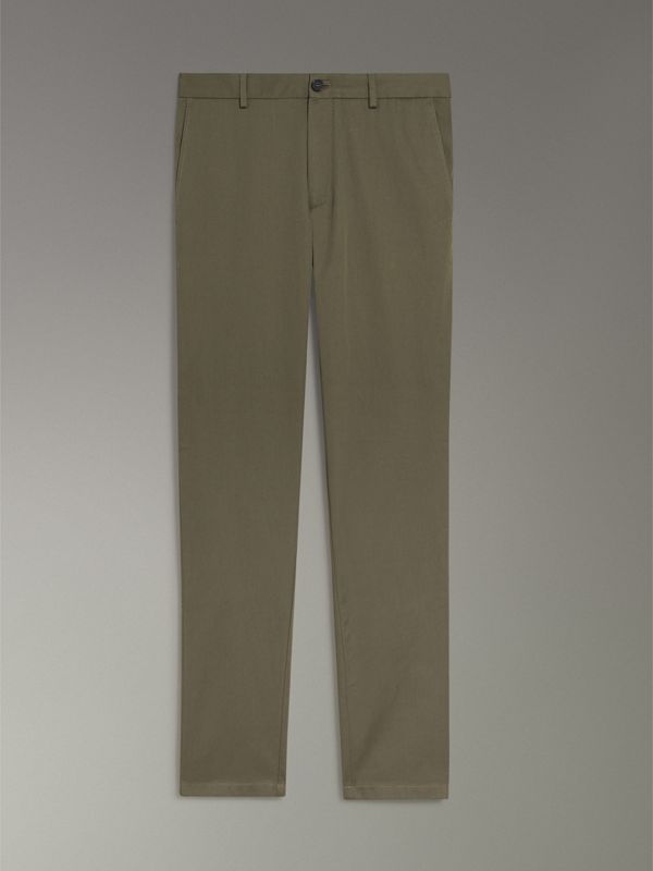 Slim Fit Cotton Chinos in Military Green - Men | Burberry Canada - cell image 3